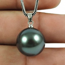 Trendy Grey Pearl Ball Pendant 925 Sterling Silver Jewellery