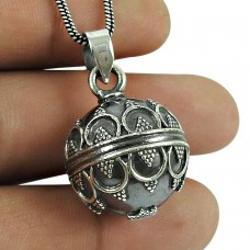 Good-Looking 925 Sterling Silver Ball Pendant 925 Sterling Silver Antique Jewellery
