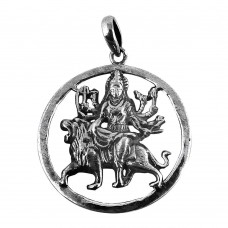 925 Sterling Silver Maa Durga Pendant