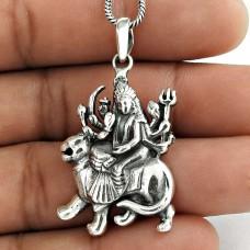 Maa Durga Handmade 925 Sterling Silver Goddess Pendant