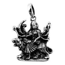 Handmade 925 Sterling Silver Maa Sherawali Pendant