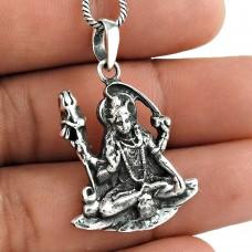 Handmade 925 Sterling Silver God Shiva Pendant