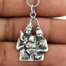 Hindu Lord Shiv Parvati Ganesh 925 Sterling Silver Pendant