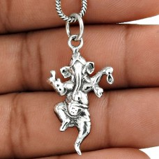Handmade 925 Sterling Silver Standing Ganesh Pendant Exporter India