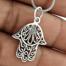 Shine!! Hamsa 925 Sterling Silver Pendant