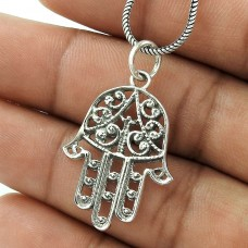 Large Fashion!! 925 Sterling Silver Handmade Hamsa Pendant