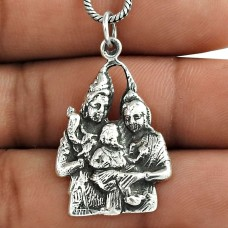 925 Sterling Silve Shiv, Parvati and Ganesh Pendant