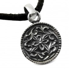 Oxidized Flower Design 925 Sterling Silver Pendant