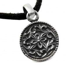 Oxidized Flower Design 925 Sterling Silver Pendant