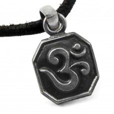 Oxidized !! 925 Sterling Silver OM Pendant