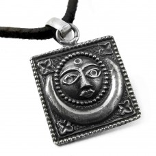 Oxidized Sun and Moon 925 Sterling Silver Pendant
