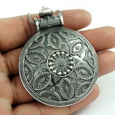 Paradise Bloom Oxidised Sterling Silver Bohemian Pendant