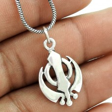 Antique Look !! 925 Sterling Silver Sikh Pendant