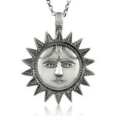 Big True Emotion!! 925 Sterling Silver Sun Pendant