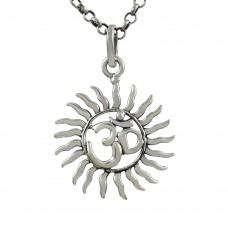 Slylish ! Sterling Silver Jewellery Sun & OM Pendant