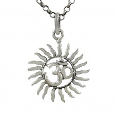 Well-Favoured ! Sterling Silver Jewellery Sun & OM Pendant
