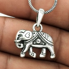 Natural Beauty ! Sterling Silver Jewellery Elephant Charm Pendant