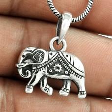 Bold Vintage Energetic ! Sterling Silver Jewellery Elephant Charm Pendant