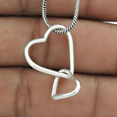Faceted Handmade 925 Sterling Silver Heart Pendant Supplier India