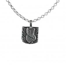 Natural 925 Sterling Silver Leaf Ganesha Pendant Handmade Jewellery