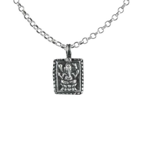 Faceted 925 Sterling Silver Ganesha Pendant Handmade Jewellery