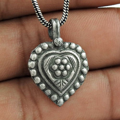Oxidised 925 Sterling Silver Heart Design Pendant Handmade Jewellery Supplier India
