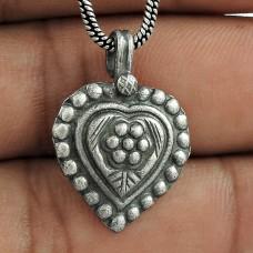 Light Weight 925 Sterling Silver Heart Pendant Handmade Jewellery