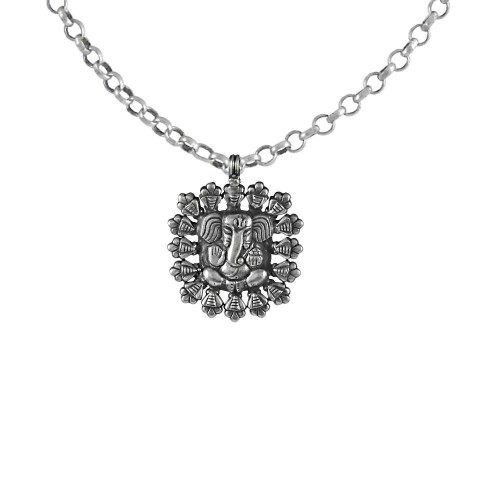Antique Design Ganesha Pendant ! 925 Sterling Silver Handmade Jewellery