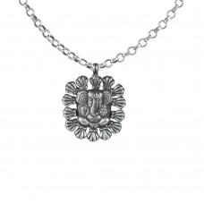 Oxidised 925 Sterling Silver Designer Ganesha Pendant Handmade Jewellery