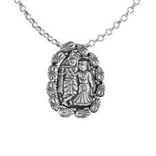 Beautiful Radha Krishna Pendant! 925 Sterling Silver Handmade Jewellery