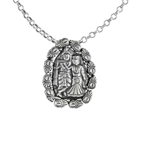 Beautiful Radha Krishna Pendant! 925 Sterling Silver Handmade Jewellery
