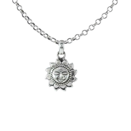 Small Design 925 Sterling Silver Sun Pendant Handmade Jewellery
