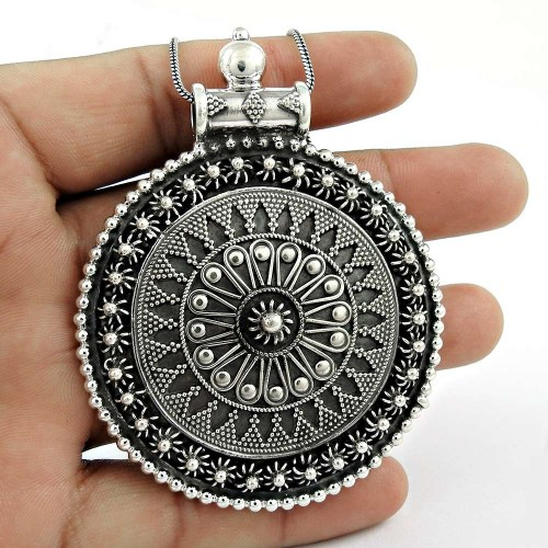 Oxidized 925 Sterling Silver Pendant Traditional Jewellery