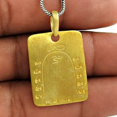 Big Natural Gold Plating Solid 925 Sterling Silver Pendant