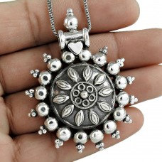 Antique Look 925 Sterling Silver Pendant Vintage Women Fashion Jewelry