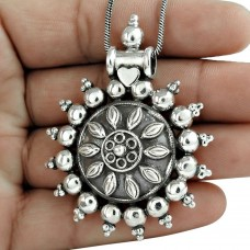 Antique Look 925 Sterling Silver Pendant Ethnic Jewelry
