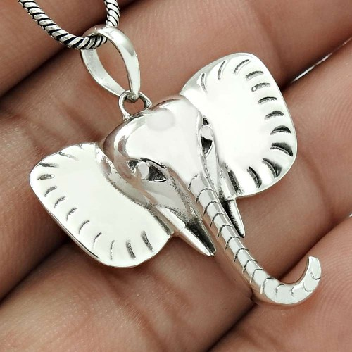 Elephant Mouth Pendant Solid 925 Sterling Silver Traditional Jewelry QA29