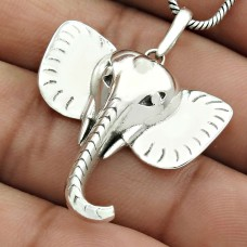 Elephant Mouth Pendant Solid 925 Sterling Silver Tribal Jewelry QA30