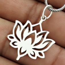 Lotus Flower Pendant Solid 925 Sterling Silver Vintage Jewelry YH31