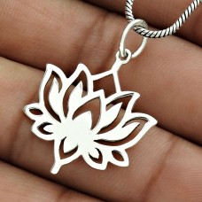 Flower Pendant Solid 925 Sterling Silver Tribal Jewelry PL32