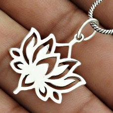 Lotus Flower Pendant Solid 925 Sterling Silver Ethnic Jewelry QA32