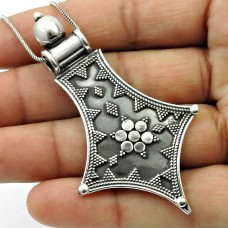 Oxidized 925 Sterling Silver Pendant Antique Look Jewelry P15