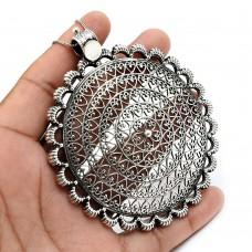 Solid 925 Sterling Silver Filigree Pendant Stylish Jewelry A30
