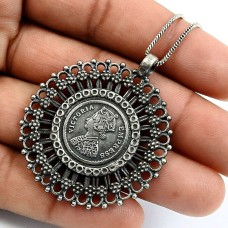 HANDMADE 925 Solid Sterling Silver Jewelry Oxidized Victoria Coin Pendant Q3