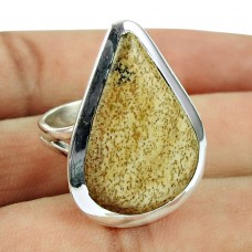 925 Sterling Silver Gemstone Jewellery Designer Picture Jasper Gemstone Ring Wholesale