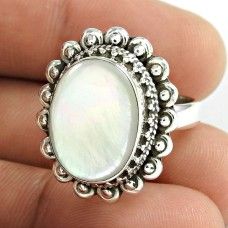 Classy Style!! 925 Sterling Silver Mother Of Pearl Ring