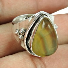 925 Sterling Silver Jewellery Beautiful Fluorite Gemstone Ring Exporter India