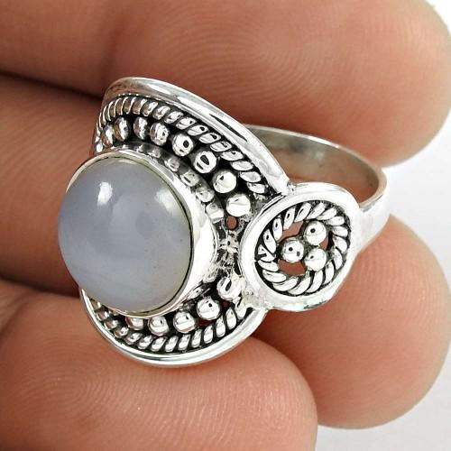 Stylish Design! 925 Silver Chalcedony Ring