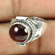 Sterling Silver Jewellery High Polish Garnet Gemstone Ring Wholesaler India