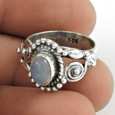 Charming 925 Sterling Silver Chalcedony Gemstone Ring Vintage Jewelry
